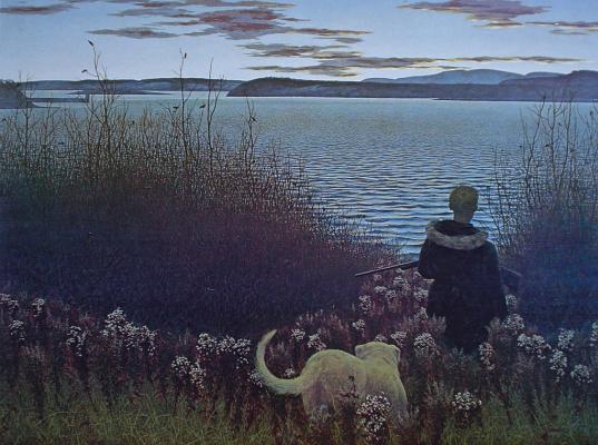 Alex Colville. Boy, dog and St. John's river