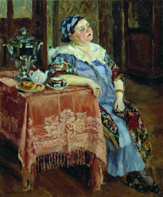 Sergey Arsenievich Vinogradov. The merchant's wife drinking tea from the samovar