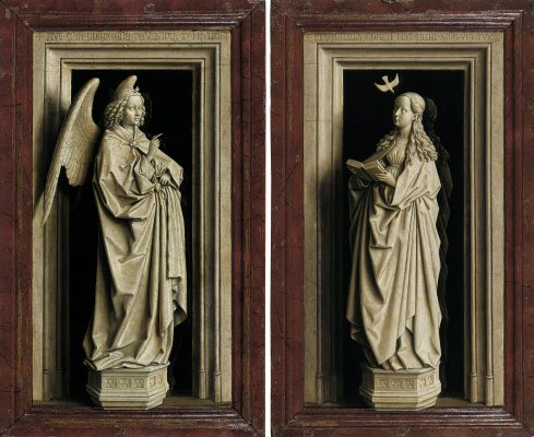 Jan van Eyck. The Annunciation. The Archangel Gabriel and the virgin Mary