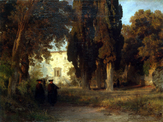 Oswald Achenbach. Monastery garden