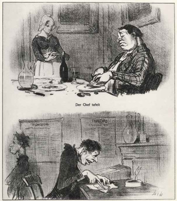 Honore Daumier. Chief feasting. At the employee lunch break