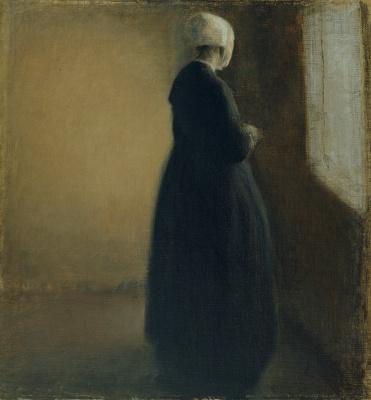 Vilhelm Hammershøi. An elderly woman by the window