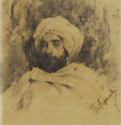 Leonid Osipovich Pasternak. Portrait of I. I. Levitan in Bedouin costume. 1887