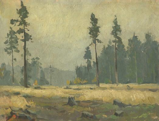 Alexandrovich Rudolf Pavlov. Behind the dark forest, Mannerheim Line, sketch, oil on canvas. 1961