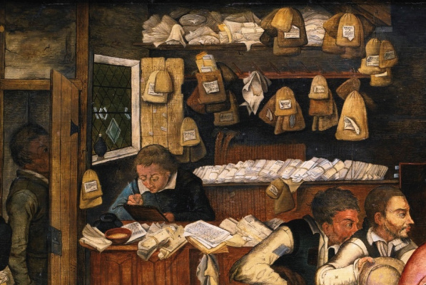 Peter Brueghel The Younger. Rural lawyer (the Peasants from the tax collector). Fragment. Clerk