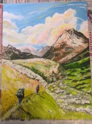 Oia Nikolavna Nagovitsyna. Mountain hike in Kyrgyzstan, oil on canvas on cardboard