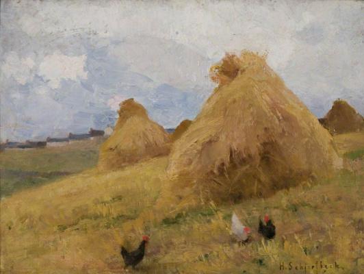 Helena Sophia Scherfbek. Chickens among stacks