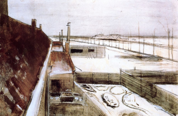 Vincent van Gogh. The view from the window of Vincent's Studio in winter