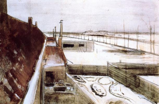 Винсент Ван Гог. Вид из окна студии Винсента зимой