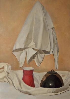 Pavel Viktorovich Petrov. Still life with sheets, teapot and glass thing