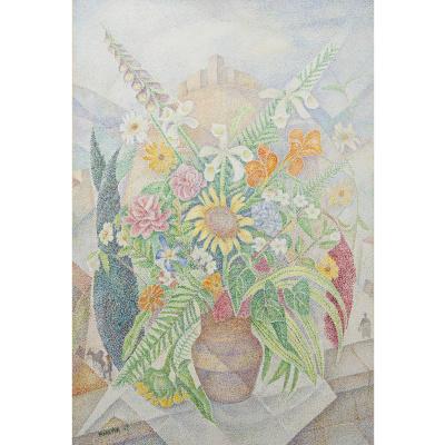 Мария Брониславовна Маревна (Воробьева-Стебельская). Букет цветов на фоне замка. 1969