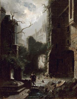 Moonlit scene with castle ruins