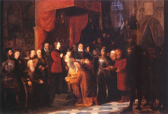 Jan Matejko. Captured Tsar Vasily Shuisky in the Warsaw Sejm before Sigmund III