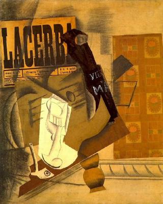 Пабло Пикассо. Трубка, бокал, газета, гитара и бутылка (LACERBA)