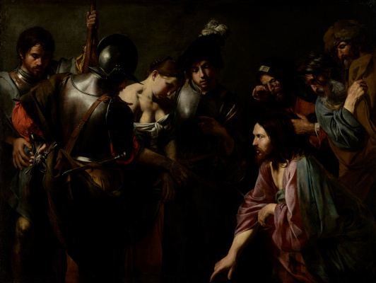 Valentin de Boulogne. Christ and the adulteress