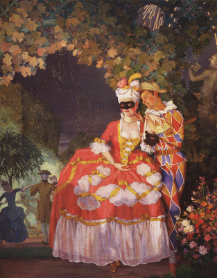 Constantin Somov. Harlequin and the lady