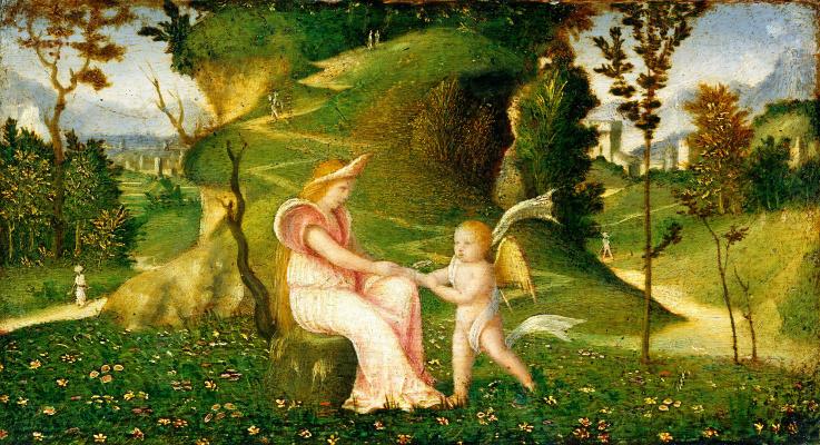 Giorgione. Venus and Cupid in a landscape (workshop)
