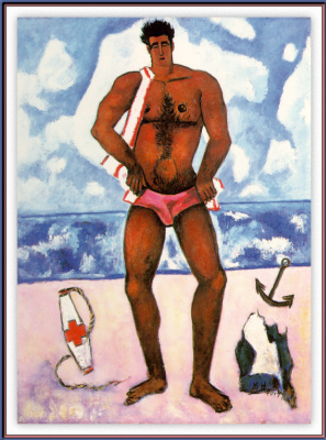 Marsden Hartley. A man in a pink speedo on the beach