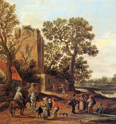 Ян ван Гойен. Пейзаж с полуразрушенной башней, всадниками и семьей нищих