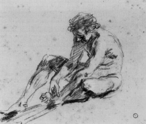 Antoine Watteau. Nude, sitting on the ground