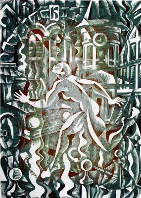 "Vladimir Kataev. ""Interference 1"", linocut, 66Х47 , 2012"