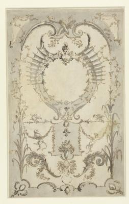 Antoine Watteau. Vegetative ornament with monkeys, festoons, crossed arrow sleeves and a bust