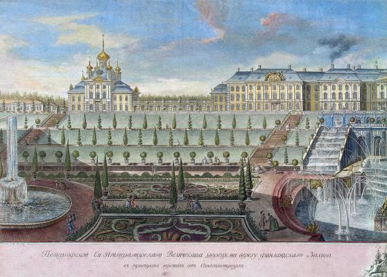 Вид Большого дворца в Петергофе со стороны Финского залива