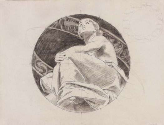 """John Singer Sargent. Sketch for """"Astronomy"""". Figure of a seated girl in the ring zodiac"""