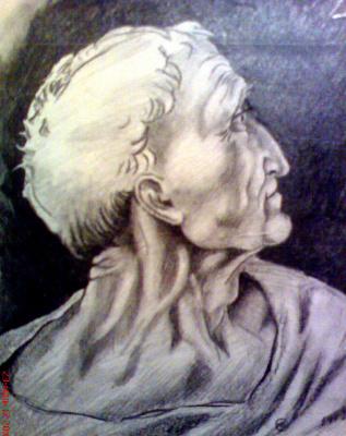 Jurgen Beuttcher. Рисунок Леонардо Да Винчи к  картине .,Тайная вечеря,,голова Иуды, - копия.