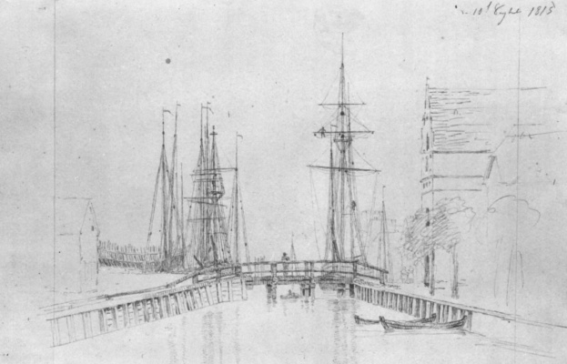 Caspar David Friedrich. Greifswald harbor with a bridge on stone pillars
