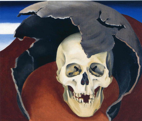 Georgia O'Keeffe. Human skull in a broken pot
