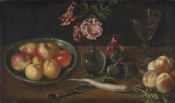 Josef Polep. Still life with bowl of apples, a glass, radishes and fruit