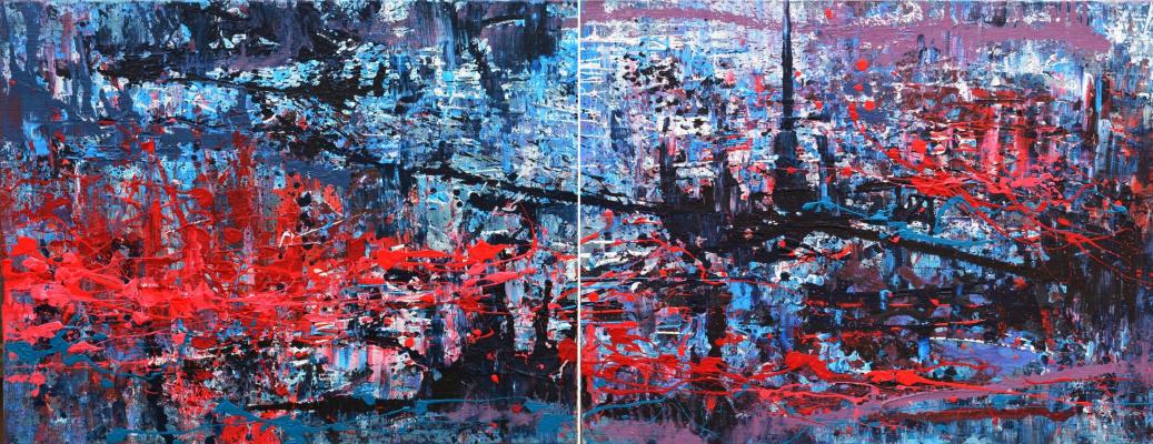 "Tanya Vasilenko. ""Parallel worlds"". Diptych. Acrylic on canvas. Parallel worlds, diptych, both parts. Acrylic on Canvas. 2016."
