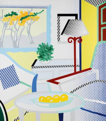 Рой Лихтенштейн. Интерьер с изображением деревьев