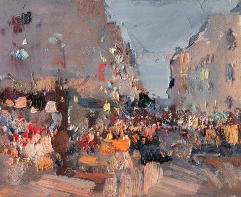 Slava Korolenkov. Cafe Montmartre. 2016, oil on canvas, 21х26 cm. for sale