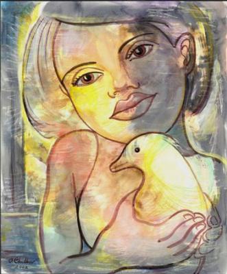 Девочка с жёлтой птицей