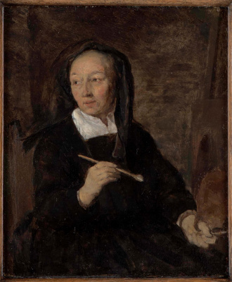 Gabrielle Metsu. The artist at the easel