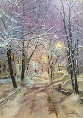 """Sophia Vinogradova. Painting """"Substitution of reality"""" (oil on canvas winter night Moscow evening courtyard lights joy childhood five-story building old courtyard snowfall new year holiday)"""