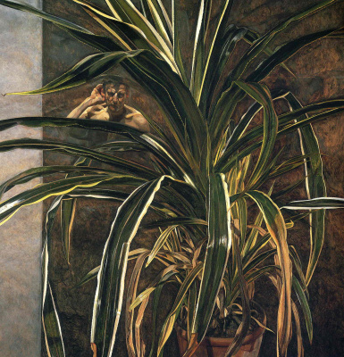 Lucien Freud. Interior with a plant and reflection of the listener