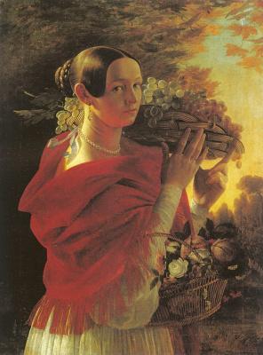 To Hrutska. Girl with basket of grapes
