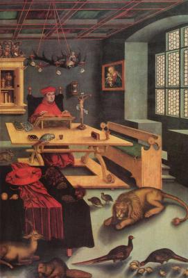 Лукас Кранах Старший. Портрет кардинала Альбрехта Бранденбургского в виде св. Иеронимав келье