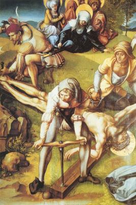 Альбрехт Дюрер. Прибивание Христа к кресту