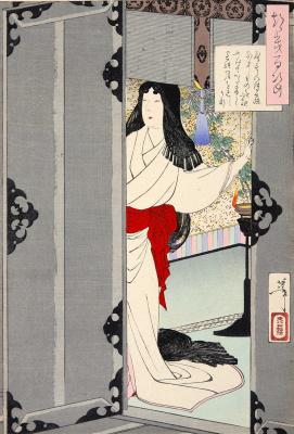 """Цукиока Ёситоси. Убывающая луна. Серия """"100 видов луны"""""""