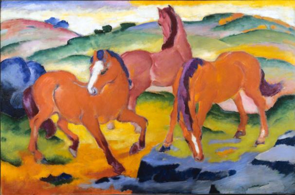 Franz Marc. Red horse