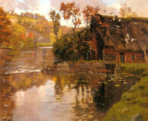 Frits Thaulow. Cottage near the Creek