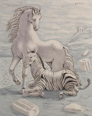 Giorgio de Chirico. Horse and zebra by the sea