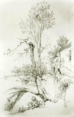 Moritz background Schwind. Landscape with wanderer