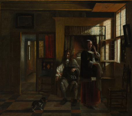 Pieter de Hooch. Interior with a young couple