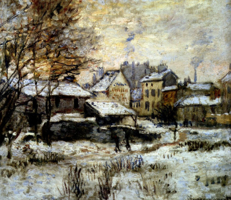 Claude Monet. Snow effect with setting sun