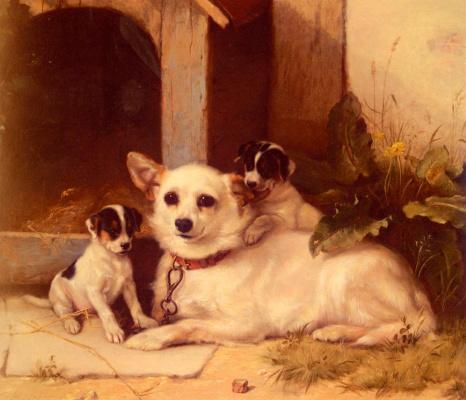 Уолтер Хант. Мать и щенки
